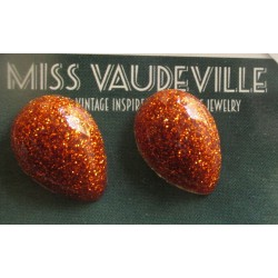 paire boucles d'oreilles goutte or et orange  pin up retro