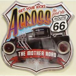plaque blason hor rod across the good ole route 66  tole publicitaire rare