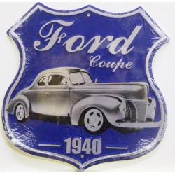 plaque blason ford coupé 1940 hot rod  tole publicitaire rare