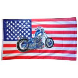 drapeau usa moto chopper bleu motorcycle etat unis 150x90 flag
