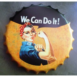 plaque capsule rosie la riveteuse 40cm tole deco we can do it
