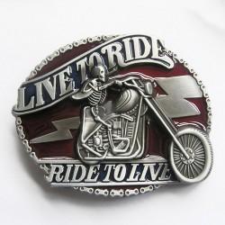 boucle de ceinture live to ride ride to live coloré crane