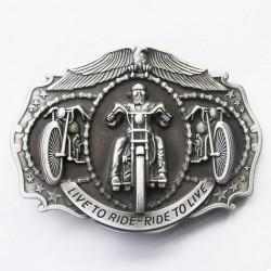 boucle de ceinture live to ride alu moto vu de face biker