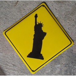 grosse plaque emaillee statue liberte jaune tole email NY