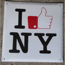 grosse plaque emaillee I love NY new york tole email deco us