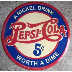 plaque pepsi cola bleu 60cm tole deco pub americaine usa