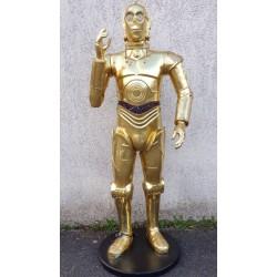 statue star warrs C3PO bras en l'air la guerre des étoile déco taille réel