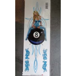 grand sticker pin up sexy  8ball pinstriping 42x14cm autocollant usa lethal thread