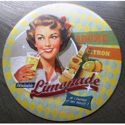 plaque pin up  style année 50 limonade citron tole ronde 30cm  deco us