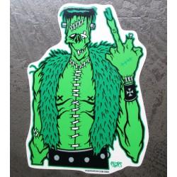 sticker frankenstein vert gilet moumoutte doigt levé autocollant rockab