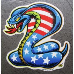 sticker cobra drapeau americain etat unis autocollant  gauche