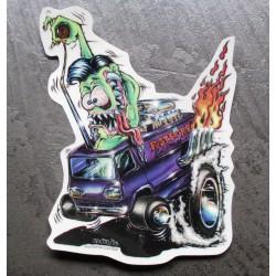 sticker monstre vert conduisnat un van  camionette us autocollant transparent