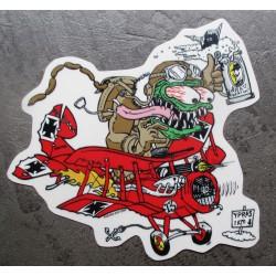 sticker monstre vert avion baron rouge rat fink autocollant transparent