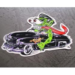 sticker monstre vertet cadillac noir cabriolet rat fink autocollant transparent