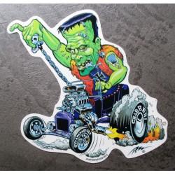 sticker monstre vert frankenstein et hot rod  autocollant transparent