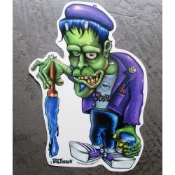 sticker s monstre vert frankenstein et pinceau pinstripingkustom kulture  autocollant transparent
