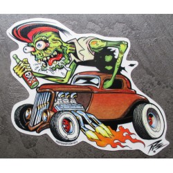 sticker zombie vert qui conduit un hot rod kustom kulture  autocollant transparent