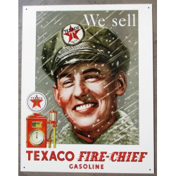 plaque texaco pompiste we sell fire chief tole deco garage usa loft