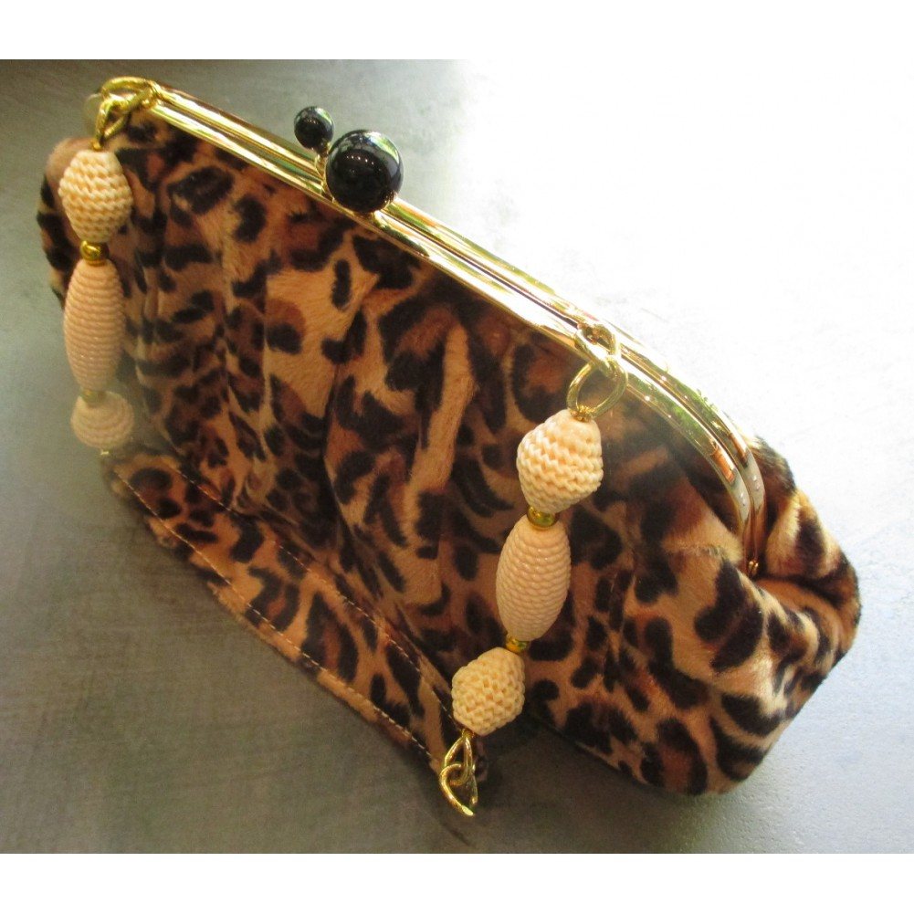 cb8acd27f51d fabulous sac a main rockabilly leopard beige poigne perle blanche style pin  up rtro with sac pin up rockabilly