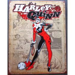 plaque super hero harley quinn avec son maretau sur fond beige clair affiche tole usa déco enfant