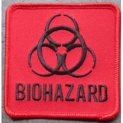 patch biohazar carré rouge 7.5x7.5 cm ecusson thermocollant usa