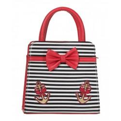 sac a main rayé noir et blanc noeud papillon  rouge ancre doré rockabilly pin up rétro femme