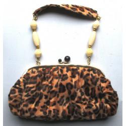 sac a main rockabilly leopard beige poignée perle blanche style pin up rétro