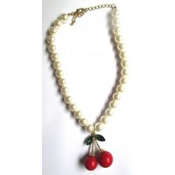 collier perle blanche avec 1 paires de cerise 3D 5.5x3.5 cm pinup rockabilly femme
