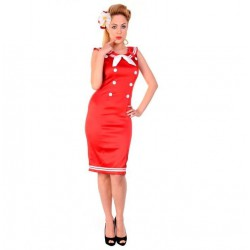 robe pin up sailor navy rouge  taille L marine sexy rockabilly retro