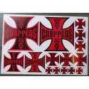 1 planche de stickers wcc noir rouge biker motard west coast choppers