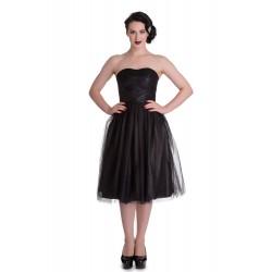 robe pin up noire tamara avec voile taille S retro rockabilly vintage