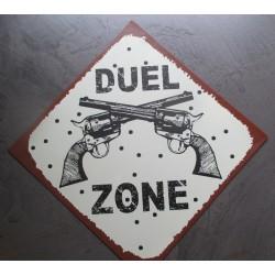 plaque losange duel zone 40x40cm tole deco affiche metal pistolet