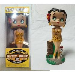 figurine betty boop en leopard avec un tiki 17cm bobble head statuette funko