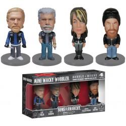 lot de 4 figurines sons of anarchy  rare  8.5 cm wacky statuette funko