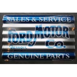plaque ford motor & co tole ondulé 45x30 rare déco garage  loft diner chevy