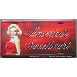 plaque d'immatriculation  marilyn monroe america's pin up tole deco maison fan
