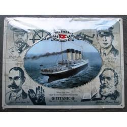 plaque  bateau titanic et 4 personnages relief 40cm tole pub affiche