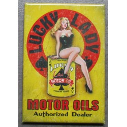 magnet 8x5.5 cm lucky lady motor oil  pin up huile deco garage cuisine bar diner loft frigo