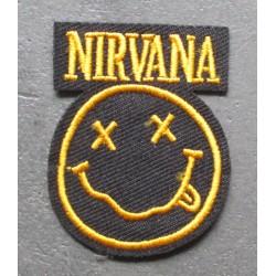 patch groupe pop rock grunge  nirvana  jaune  5x3.5cm  écusson  thermocollant  veste chemise