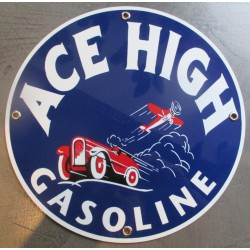plaque alu ace high gasoline voiture avion tole metal garage huile pompe à essence