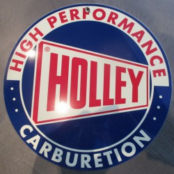 plaque alu holley ronde carburetion high performance tole metal garage huile pompe à essence