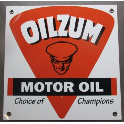 plaque alu oilzum motor oil carré 30x30 tole metal garage huile pompe à essence
