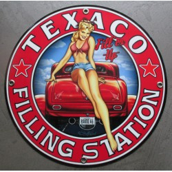plaque alu texaco pin up et hot rod tole metal garage huile pompe à essence