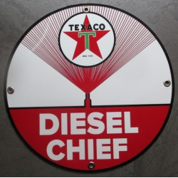 plaque alu texaco diesel chief ronde tole metal garage huile pompe à essence