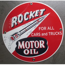 plaque alu rocket motor oils tole metal garage huile pompe à essence