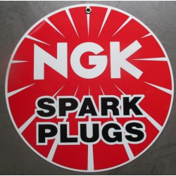 plaque alu bougie NGK spark plugs tole metal garage huile pompe à essence