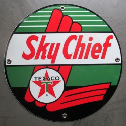 plaque alu texaco sky chief ronde tole metal garage huile pompe à essence