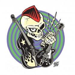 sticker punk a la crete rouge guitare contrebasse autocollant ince ray
