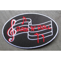 patch ovale rock & roll noir ecrit rouge  partition blanche ecusson pin up rockabilly