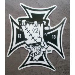 sticker croix de malte et frankenstein autocollant kustom kulture pigors